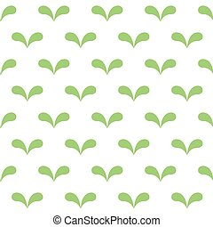 Seamless abstract green leaves pattern on white background
