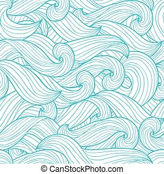 Seamless abstract hand drawn pattern waves background