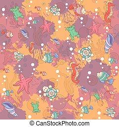 Seamless abstract marine life.Seamless pattern with sea inhabita