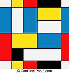 Seamless abstract mosaic pattern. Piet Mondrian emulation ....