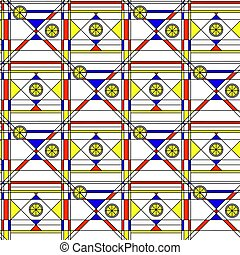 Seamless abstract pattern. Geometric print composed of blue, red, yellow polygon and triangle and black lines on white background. Bauhaus style print.