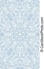 Seamless abstract pattern. Hand drawn texture, Christmas background, snowflake, vector illustration in blue tones.