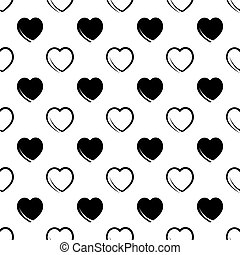 seamless abstract pattern of black hearts on a white background. Vector image
