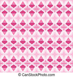Seamless abstract pattern of four-pointed stars and other shapes in shading pink colors with white outlines. Flat design vector.