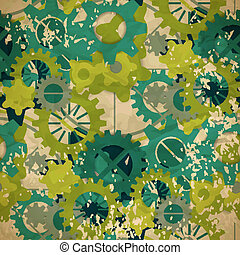 Seamless abstract pattern of pastel green gear in vintage style