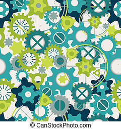 Seamless abstract pattern of pastel green gears