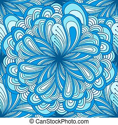 Seamless abstract pattern with fantasy flower doodle style in blue color. Background, textile, cover, wrapper