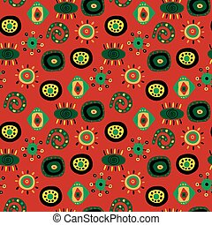 Seamless abstract pattern with red background