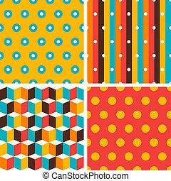 Seamless abstract retro geometric patterns set.