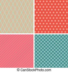Seamless abstract retro pattern. Set of 4 geometric texture.