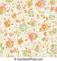 Seamless abstract vector pattern with scattered shapes and lines in pink yellow green on white background