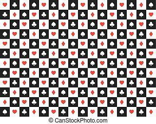 Seamless abstract vector poker background with playing cards signs, red and white symbols on white and black squares, casino symbols