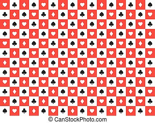 Seamless abstract vector poker background with playing cards signs, white and black symbols on white and red squares, casino symbols