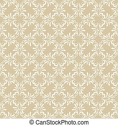seamless vintage plant orient pattern on brown background