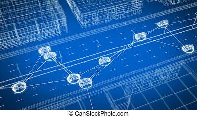 seamless., abstrakcyjny, 3d, ulica, system, 3840x2160, panowanie, cyfrowy, hd, miasto, wozy, mądry, wszystko, przewóz, złączony, wóz, 4k, ożywienie, zamieniając, ultra, szosa, looped, network., dane