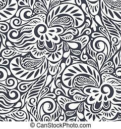 seamless, abstraktní, kudrnatý, květinový charakter