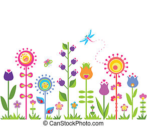 seamless, abstraktní, květinový, grafické pozadí