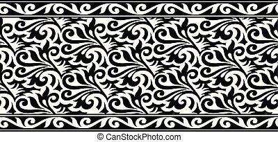 seamless, abstratos, preto branco, fronteira floral