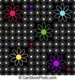 seamless, achtergrond, black , floral