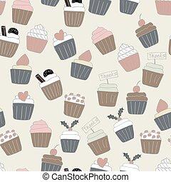seamless, achtergrond, cupcake