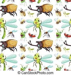 seamless, achtergrond, met, anders, insecten