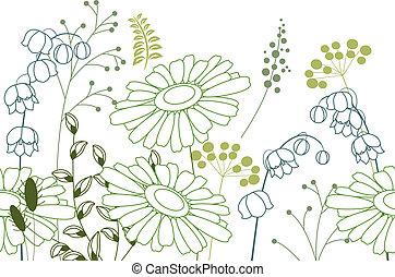 seamless, achtergrond, met, bloemen