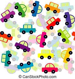 seamless, achtergrond, met, gekleurde, de auto's van het stuk speelgoed