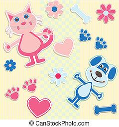 seamless, achtergrond, met, poezen, honden, en, hart