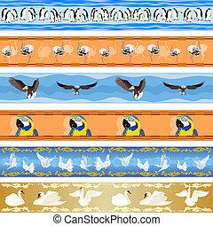 seamless, achtergrond, met, vogels