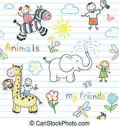 seamless, achtergrond, met, vrolijke , kinderen, en, dieren