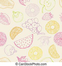 seamless, achtergrond, vruchten
