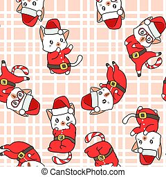 Seamless adorable Santa cat with a Christmas day pattern
