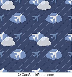 seamless airplane in sky pattern background