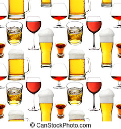 Seamless alcohol beverages - Seamless pattern - Alcohol...