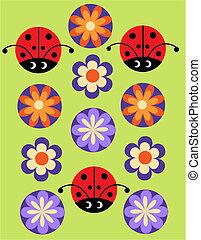 seamless, alegre, patrón, con, mariquita, y, flores