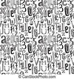 seamless, alfabeto, negro