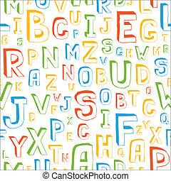 seamless, alfabeto, padrão