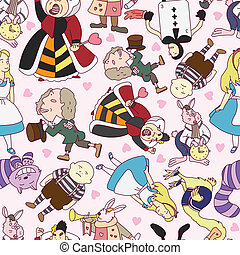 seamless Alice in Wonderland patter