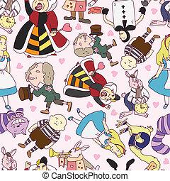 seamless Alice in Wonderland patter