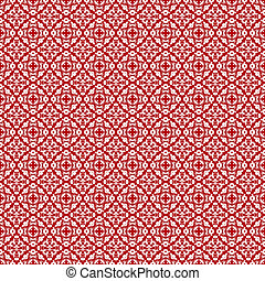 Seamless Allover Red & White Damask Pattern