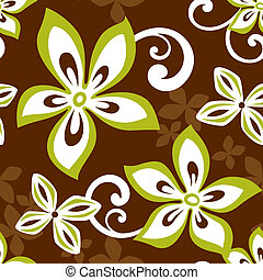 Illustration of a seamless Hawaiian pattern tile. Tile can be dragged and dropped into Illustrator's swatches palette