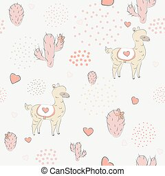 Seamless Alpaca Pattern with cacti, hearts and dots on dark...