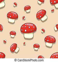 Seamless amanita toxic mushroom - Seamless pattern ...