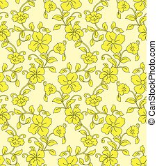 seamless, amarela, floral, fundo