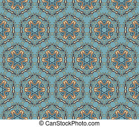 Baroque pattern with swirls on a blue grey background