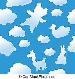 seamless, animal, nubes, plano de fondo
