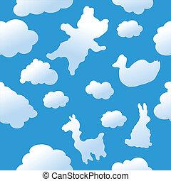 seamless, animal, nuvens, fundo
