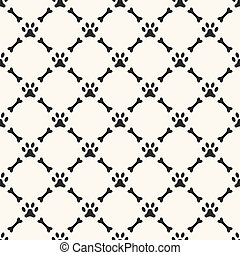 Seamless animal pattern of paw footprint and bone. Endless...