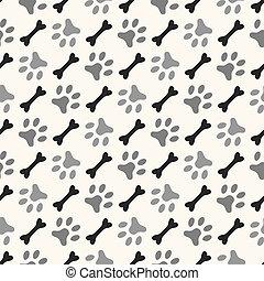 Seamless animal pattern of paw footprint and bone