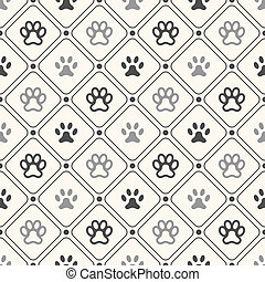 Seamless animal pattern of paw footprint in frame and polka dot